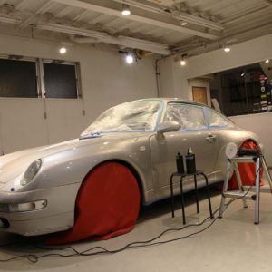 ポルシェ993(911)スーパープレミアムガラスコーティング施工。